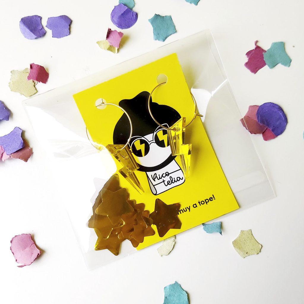 Catálogo productos Pendientes rayo amarillos con brillo