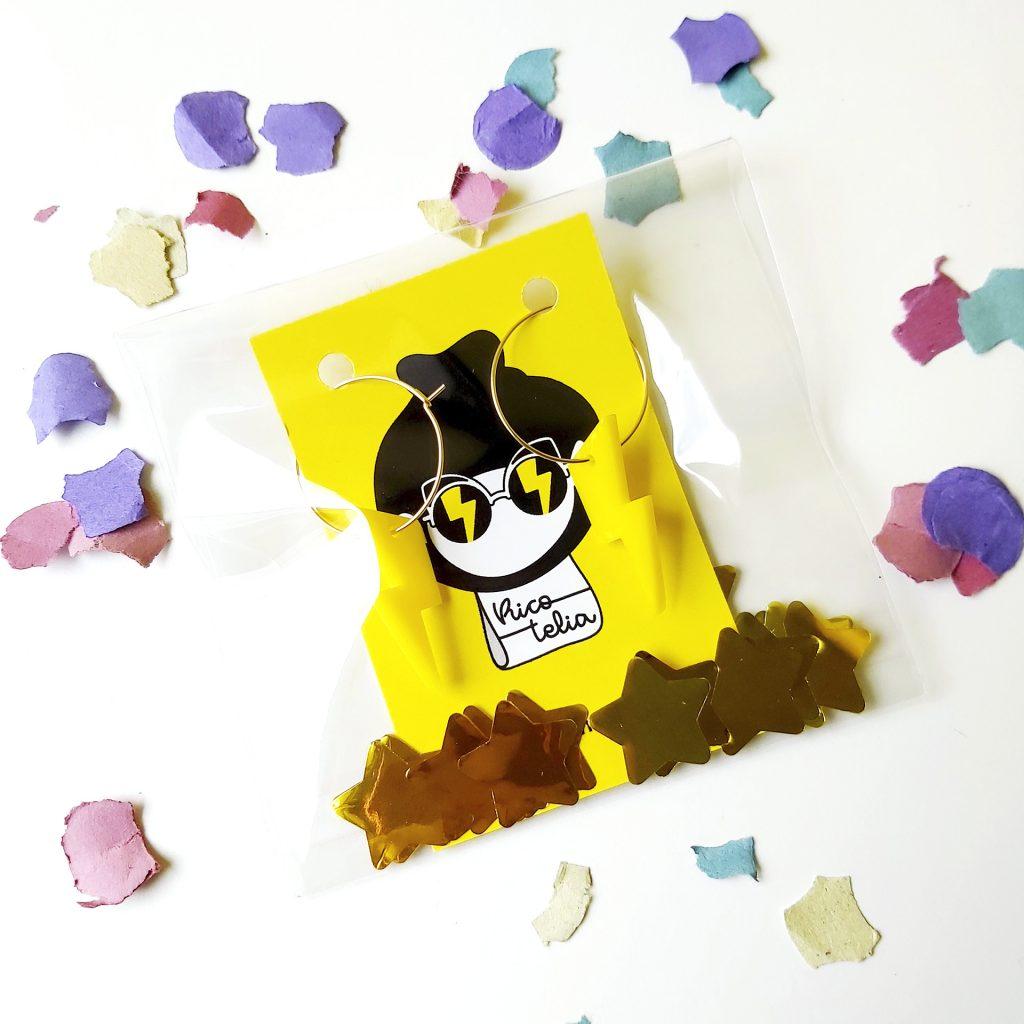 Catálogo productos Pendientes rayo amarillos opacos